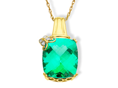 Green Sapphire Pendant with Diamonds in 14K Gold
