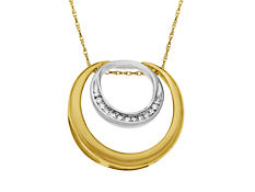 1/10 ct Diamond Circle Pendant in 14K Two-Tone Gold