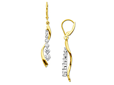 1 ct Diamond Journey Earrings in 14K Two-Tone Gold