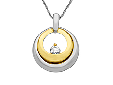 1/5 ct Diamond Circle Pendant in Palladium and 18K Gold
