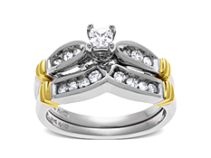 1/2 ct Diamond Engagement and Wedding Band Set in 14K Two-Tone Gold