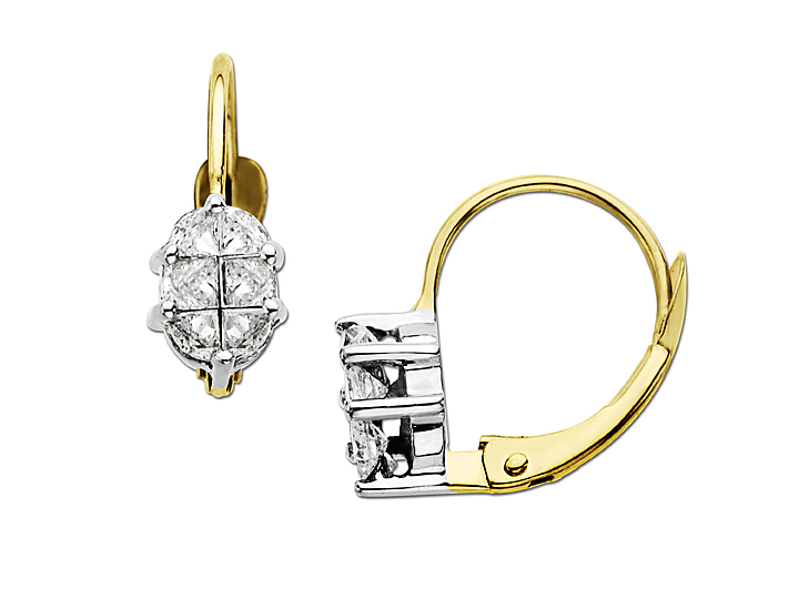1/2 ct Princess-Cut Diamond Earrings in 14K Gold and White Gold from Jewelry.com