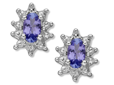 3/8 ct Tanzanite Stud Earrings with Diamonds in Sterling Silver