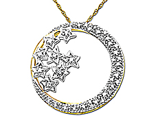 1/4 ct Diamond Moon and Stars Pendant in 10K Gold