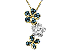 1/4 ct Green and White Diamond Flower Pendant in 10K Two-Tone Gold