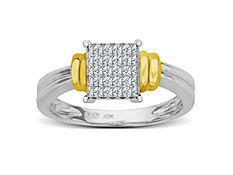 1/4 ct Princess-cut Diamond Ring in 10K Two Tone Gold