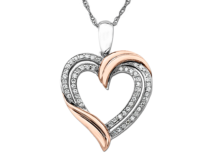 1/5 ct Diamond Heart Pendant Necklace in Two-Tone Gold over Silver from Jewelry.com