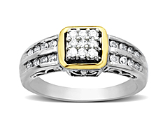 1/3 ct Diamond Ring in Sterling Silver and 14K Gold