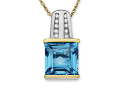 Swiss Blue Topaz Pendant with Diamonds in 14K Gold and Sterling Silver