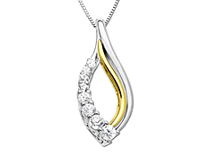White Sapphire Pendant in Sterling Silver and 14K Gold