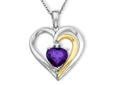Amethyst Heart Pendant with Diamond in Sterling Silver and 14K Gold