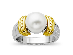 9.5 mm Pearl Ring in 14K Gold and Sterling Silver