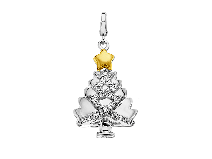 Manhattan Collection: Rockefeller Center Christmas Tree Charm in Sterling Silver and 14K Gold with Diamonds from Jewelry.com