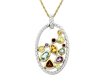 Garnet, Amethyst, Citrine, Peridot, and Swiss Blue Topaz Pendant Necklace in Sterling Silver and 10K Gold