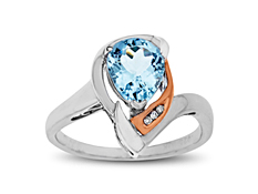 1 3/4 ct Aquamarine Ring with Diamonds in Sterling Silver and 10K Pink Gold