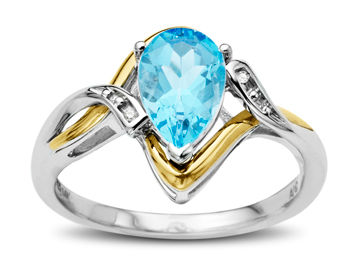 2 ct Swiss Blue Topaz Ring with Diamonds in Sterling Silver and 10K Gold from Jewelry.com