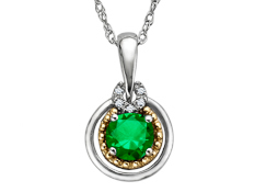 3/8 ct Emerald Pendant with Diamonds in Sterling Silver and 14K Gold