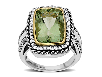 Green Amethyst and Diamond Ring in Sterling Silver and 14K Gold
