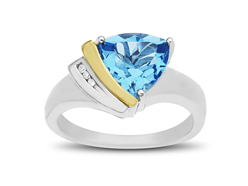 Swiss Blue Topaz Ring with Diamonds in Sterling Silver and 14K Gold from Jewelry. com