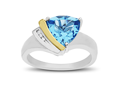 Swiss Blue Topaz Ring with Diamonds in Sterling Silver and 14K Gold