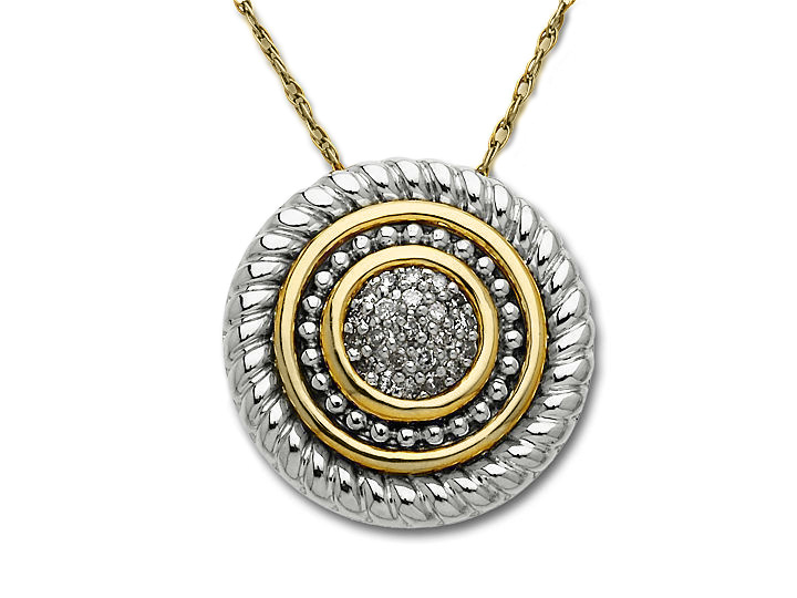 Disc Pendant Necklace in 14K Gold and Sterling Silver with Diamonds from Jewelry.com