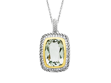 7 1/5 ct Green Amethyst Pendant Necklacein Sterling Silver and 14K Gold with Diamonds from Jewelry.com