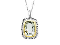 7 1/5 ct Green Amethyst Pendant in Sterling Silver and 14K Gold with Diamonds