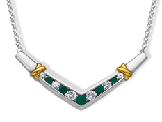 Emerald and White Sapphire Necklace in 14K Gold and Sterling Silver