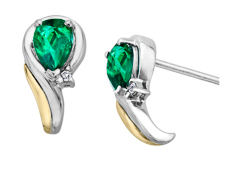 7/8 ct Emerald Crescent Earrings with Diamonds in Sterling Silver and 14K Gold