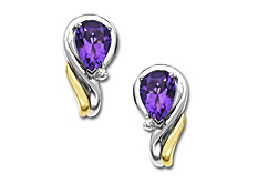 Amethyst Earrings in 14K Gold and Sterling Silver with Diamonds