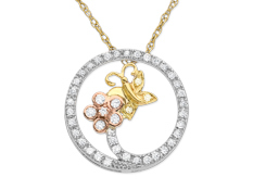 1/5 ct Diamond Butterfly Circle Pendant in 14K Three-Tone Gold