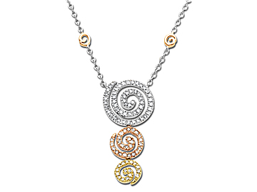 1/2 ct Spiral Necklace in 14K Three-Tone Gold from Jewelry.com