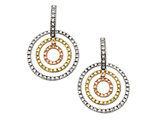 1 ct Diamond Earrings in 14K Three-Tone Gold