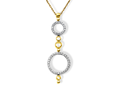 1/3 ct Diamond Circle Pendant in 14K Two-Tone Gold