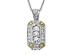1/4 ct Diamond Pendant in 14K Two-Tone Gold