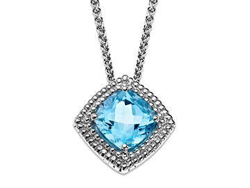 3 ct Swiss Blue Topaz Pendant in Sterling Silver