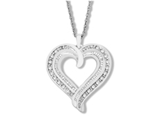 1/2 ct Diamond Heart Pendant in Sterling Silver