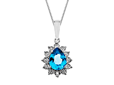 Swiss Blue Topaz Pendant with Diamonds in Sterling Silver