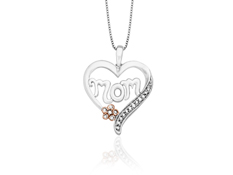 'Mom' 1/8 ct Diamond Heart Pendant in 14K Pink Gold and Sterling Silver