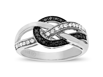 1/4 ct Black and White Diamond Ring in Sterling Silver