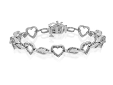 1/6 ct Diamond Heart 'Mom' Bracelet in Sterling Silver
