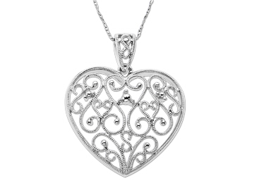 Heart Pendant Necklace in 14K White Gold from Jewelry.com