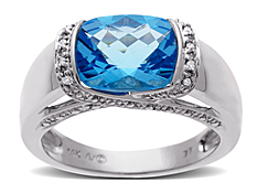 Swiss Blue Topaz Ring with Diamonds in 14K White Gold