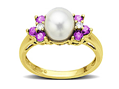 7.5 mm Pearl and 5/8 ct Pink Sapphire Ring with Diamonds in 14K Gold