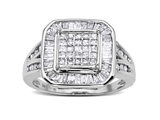 1 ct Princess-Cut & Baguette-Cut Diamond Ring in 14K White Gold