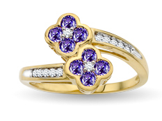 Tanzanite Flower Ring in 14K Gold with Diamonds