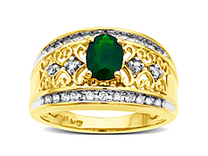 Emerald Ring  with Diamonds in 14K Gold