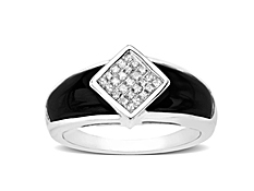 Onyx and 1/4 ct Diamond Ring in 14K White Gold