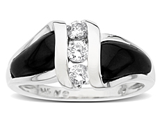 Onyx and 1/3 ct Diamond Ring in 14K White Gold