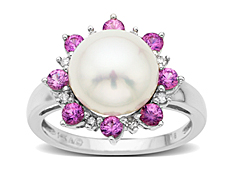 Freshwater Pearl and Pink Sapphire Ring in 14K White Gold with Diamonds